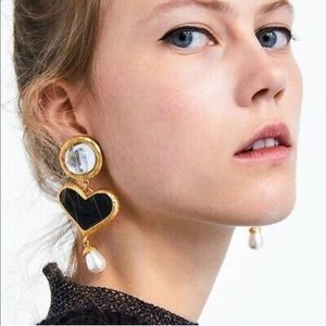 Black Heart Gold and White Drop Dangle Earring